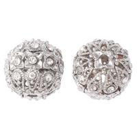 Strass Messing Perlen, rund, Platinfarbe platiniert, mit Strass & hohl, frei von Nickel, Blei & Kadmium, 18mm, Bohrung:ca. 2mm, 5PCs/Tasche, verkauft von Tasche