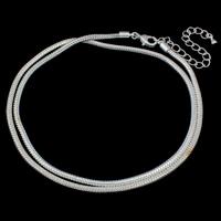 Messing Europa Halskette Kette, mit Verlängerungskettchen von 7.5cm, silberfarben plattiert, Schlangekette, frei von Nickel, Blei & Kadmium, 3mm, verkauft per ca. 21 ZollInch Strang