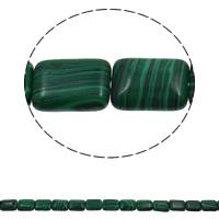 Malachit Perle, Rechteck, synthetisch, 13x18x6mm, Bohrung:ca. 1.5mm, ca. 22PCs/Strang, verkauft per ca. 15.7 ZollInch Strang