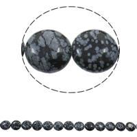 Schneeflocke Obsidian, flache Runde, natürlich, 16x6mm, Bohrung:ca. 1.5mm, ca. 25PCs/Strang, verkauft per ca. 15.7 ZollInch Strang