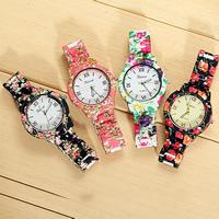 Damen Armbanduhr, Acryl, mit Glas & Zinklegierung, Platinfarbe platiniert, verschiedene Muster für Wahl & mit Blumenmuster & für Frau, frei von Nickel, Blei & Kadmium, 39mm, 17mm, Länge:ca. 8.8 ZollInch, verkauft von PC