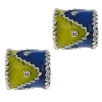 Imitation Cloisonne Zink Legierung Perlen, Zinklegierung, Blume, silberfarben plattiert, Emaille & zweifarbig & Schwärzen, frei von Nickel, Blei & Kadmium, 5x5mm, Bohrung:ca. 1.5mm, 50PCs/Menge, verkauft von Menge
