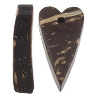 Kokosnuss Anhänger, Kokosrinde, Herz, natürlich, originale Farbe, 11x20x5mm, Bohrung:ca. 1mm, 1000PCs/Tasche, verkauft von Tasche