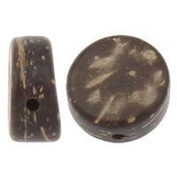 Kokos-Perlen, Kokosrinde, flache Runde, natürlich, originale Farbe, 9x5mm, Bohrung:ca. 1mm, 1000PCs/Tasche, verkauft von Tasche