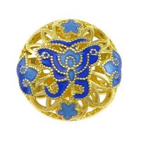 Glatte Cloisonné Perlen, flache Runde, Bläu, Doppelloch & hohl, frei von Nickel, Blei & Kadmium, 19x19x10mm, Bohrung:ca. 1.5mm, 10PCs/Menge, verkauft von Menge