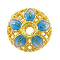 Cloisonné Perlen Einstellung, Blume, Bläu, Doppelloch & hohl, frei von Nickel, Blei & Kadmium, 14x14x9mm, Bohrung:ca. 1.5mm, Innendurchmesser:ca. 4mm, 10PCs/Menge, verkauft von Menge