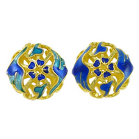 Glatte Cloisonné Perlen, rund, Bläu, hohl, keine, frei von Nickel, Blei & Kadmium, 18x18x9.50mm, Bohrung:ca. 1.5mm, 10PCs/Menge, verkauft von Menge