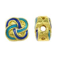 Glatte Cloisonné Perlen, Blume, Bläu, Mehrloch-, frei von Nickel, Blei & Kadmium, 12x12x8mm, Bohrung:ca. 2.5mm, 1.5mm, 10PCs/Menge, verkauft von Menge