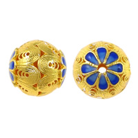 Glatte Cloisonné Perlen, rund, Bläu, hohl, frei von Nickel, Blei & Kadmium, 14x14x14mm, Bohrung:ca. 2mm, 10PCs/Menge, verkauft von Menge