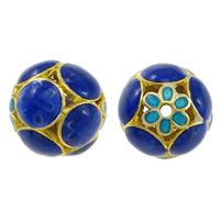 Glatte Cloisonné Perlen, rund, Bläu, hohl, frei von Nickel, Blei & Kadmium, 15x16mm, Bohrung:ca. 1.5mm, 10PCs/Menge, verkauft von Menge