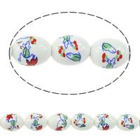 Kunstdruck Porzellan Perlen, oval, 17x13mm, Bohrung:ca. 3mm, Länge:ca. 13.5 ZollInch, 5SträngeStrang/Menge, ca. 20PCs/Strang, verkauft von Menge