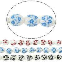 Kunstdruck Porzellan Perlen, oval, mit Blumenmuster, keine, 10x8mm, Bohrung:ca. 3mm, Länge:ca. 13 ZollInch, 5SträngeStrang/Menge, ca. 32PCs/Strang, verkauft von Menge