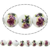 Kunstdruck Porzellan Perlen, rund, mit Blumenmuster, 8mm, Bohrung:ca. 2mm, Länge:ca. 14.5 ZollInch, 5SträngeStrang/Menge, ca. 42PCs/Strang, verkauft von Menge