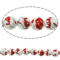 Kunstdruck Porzellan Perlen, rund, mit Blumenmuster, 10mm, Bohrung:ca. 2mm, Länge:ca. 13.5 ZollInch, 5SträngeStrang/Menge, ca. 35PCs/Strang, verkauft von Menge