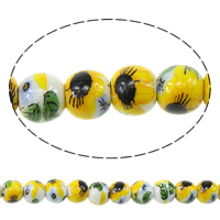 Kunstdruck Porzellan Perlen, rund, mit Blumenmuster, 6mm, Bohrung:ca. 2mm, Länge:ca. 13.5 ZollInch, 5SträngeStrang/Menge, ca. 60PCs/Strang, verkauft von Menge