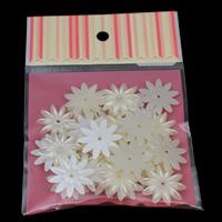 ABS-Kunststoff-Perlen, mit OPP, Blume, weiß, 27x4mm, Bohrung:ca. 1mm, 30PCs/Tasche, verkauft von Tasche