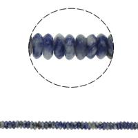 Blauer Tupfen Stein Perlen, blauer Punkt, flache Runde, natürlich, 6.5x3mm, Bohrung:ca. 1.5mm, ca. 134PCs/Strang, verkauft per ca. 15.7 ZollInch Strang