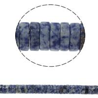 Blauer Tupfen Stein Perlen, blauer Punkt, Scheibe, natürlich, 15x5mm, Bohrung:ca. 1.5mm, ca. 77PCs/Strang, verkauft per ca. 15.7 ZollInch Strang