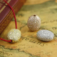 Befestiger Zirkonia Sterlingsilber Perlen, 925 Sterling Silber, flachoval, plattiert, Micro pave Zirkonia, gemischte Farben, 10.47x13.19mm, Bohrung:ca. 1-2mm, 3PCs/Menge, verkauft von Menge