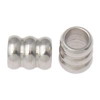 Edelstahl-Beads, Edelstahl, Zylinder, originale Farbe, 6x5mm, Bohrung:ca. 3mm, 100PCs/Tasche, verkauft von Tasche