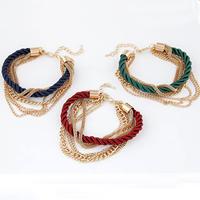 Zinklegierung Armband, mit Nylonschnur, goldfarben plattiert, 7-Strang, 5mm, verkauft per 7 ZollInch Strang
