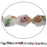 Millefiori Glasperlen, Glas Millefiori, Stern, handgemacht, 10x10x3mm, Bohrung:ca. 1mm, Länge:ca. 13.4 ZollInch, 10SträngeStrang/Tasche, ca. 34PCs/Strang, verkauft von Tasche