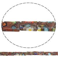 Goldsand Millefiori Glasperlen, Rechteck, handgemacht, 14x10x3mm, Bohrung:ca. 1mm, Länge:ca. 14.7 ZollInch, 10SträngeStrang/Tasche, ca. 26PCs/Strang, verkauft von Tasche