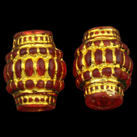 Golddruck Acryl Perlen, Trommel, transparent, rot, 12x16mm, Bohrung:ca. 4mm, ca. 580PCs/Tasche, verkauft von Tasche