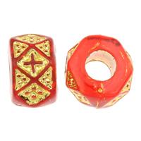 Golddruck Acryl Perlen, Trommel, transparent, rot, 9x6mm, Bohrung:ca. 3mm, ca. 1900PCs/Tasche, verkauft von Tasche