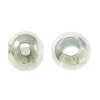 Messing Schmuckperlen, rund, silberfarben plattiert, frei von Nickel, Blei & Kadmium, 5mm, Bohrung:ca. 1.5mm, 100PCs/Tasche, verkauft von Tasche