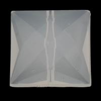 Gelee-Stil-Acryl-Perlen, Acryl, Quadrat, facettierte & Gellee Stil, weiß, 25x25x11mm, Bohrung:ca. 1mm, 2Taschen/Menge, ca. 100PCs/Tasche, verkauft von Menge