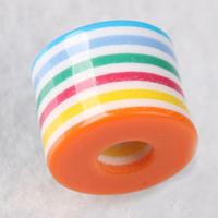 Gestreifte Harz Perlen, Zylinder, 9x11mm, Bohrung:ca. 1-3mm, 100PCs/Menge, verkauft von Menge