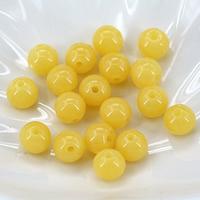 Imitierter Bernstein Harz Perlen, rund, verschiedene Größen vorhanden & Volltonfarbe, gelb, Bohrung:ca. 1mm, verkauft von Tasche