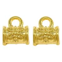 Messing Stiftöse Perlen, Zylinder, vergoldet, hochwertige Beschichtung und nie verblassen, frei von Nickel, Blei & Kadmium, 7.50x9x5mm, Bohrung:ca. 2mm, 3mm, 50PCs/Menge, verkauft von Menge