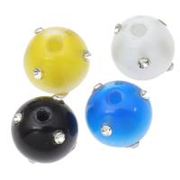 Rest Acryl Perlen, mit Strass & Volltonfarbe, gemischte Farben, 13x14mm, Bohrung:ca. 3mm, 14PCs/Tasche, verkauft von Tasche