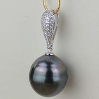 Tahiti Perlen Anhänger, mit Messing, Keishi, natürlich, Micro pave Zirkonia, schwarz, 13.3x30mm, Bohrung:ca. 3-5mm, verkauft von PC