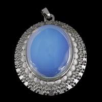Opal Anhänger, mit Messing, flachoval, Platinfarbe platiniert, frei von Nickel, Blei & Kadmium, 48x63.50x7mm, Bohrung:ca. 5x5.5mm, 10PCs/Menge, verkauft von Menge