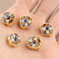 Cloisonne Perlen, Cloisonné, vergoldet, hohl, frei von Blei & Kadmium, 15.5x14.7mm, Bohrung:ca. 1.5mm, verkauft von PC