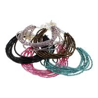Glas-Rocailles Armband, mit Glasperlen & Messing, Platinfarbe platiniert, Multi-Strang, keine, frei von Nickel, Blei & Kadmium, 5x2mm, Länge:ca. 6.5 ZollInch, 10SträngeStrang/Menge, verkauft von Menge