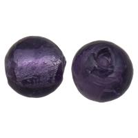 Silberfolie Lampwork Perlen, rund, handgemacht, verschiedene Größen vorhanden, violett, Bohrung:ca. 2mm, 100PCs/Tasche, verkauft von Tasche