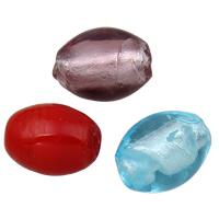 Silberfolie Lampwork Perlen, rund, handgemacht, verschiedene Stile für Wahl, 10x8mm, Bohrung:ca. 2mm, 100PCs/Tasche, verkauft von Tasche
