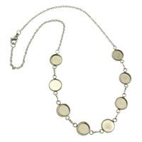 Edelstahl Halskette Zubehöre, Oval-Kette, originale Farbe, 19x12x2mm, Innendurchmesser:ca. 10mm, Länge:ca. 17.5 ZollInch, 30SträngeStrang/Menge, verkauft von Menge
