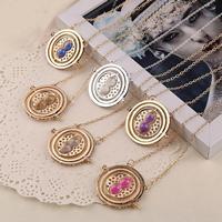 Zinklegierung Schmuck Halskette, mit Glas, flache Runde, plattiert, drehbare & mit Glas & Sanduhr & Oval-Kette, keine, frei von Nickel, Blei & Kadmium, 56x45x10mm, verkauft per ca. 21 ZollInch Strang