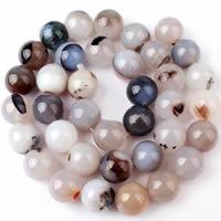 Natürliche graue Achat Perlen, Grauer Achat, rund, verschiedene Größen vorhanden, Bohrung:ca. 1-1.2mm, verkauft per ca. 15 ZollInch Strang