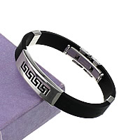 Herren-Armband & Bangle, Silikon, mit Edelstahl, schwarz, 38x12x5.5mm, 10mm, verkauft per ca. 8.5 ZollInch Strang