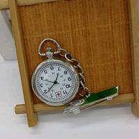 Hängende Uhr, Zinklegierung, mit Glas, flache Runde, Platinfarbe platiniert, frei von Nickel, Blei & Kadmium, 25mm, 5PCs/Menge, verkauft von Menge