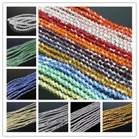 Doppelkegel Kristallperlen, Kristall, transparent & facettierte, mehrere Farben vorhanden, 3x4mm, Bohrung:ca. 1mm, Länge:ca. 18.5 ZollInch, 10SträngeStrang/Tasche, ca. 120PCs/Strang, verkauft von Tasche