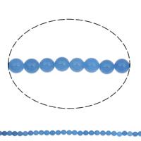 Natürliche blaue Achat Perlen, Blauer Achat, rund, 8mm, Bohrung:ca. 1mm, ca. 49PCs/Strang, verkauft per ca. 15 ZollInch Strang