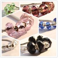 European Kristall Perlen, Rondell, Messing-Dual-Core ohne troll & facettierte, mehrere Farben vorhanden, 15mm, 20PCs/Tasche, verkauft von Tasche