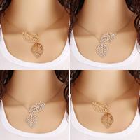 Zinklegierung Schmuck Halskette, mit Eisenkette, mit Verlängerungskettchen von 5cm, Blatt, plattiert, Oval-Kette & hohl, keine, frei von Nickel, Blei & Kadmium, 400mm, verkauft per ca. 16 ZollInch Strang